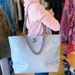 Authentic CHANEL Calfskin Quilted Tote Light Grey